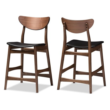 Baxton Studio Latina 24 in. Faux Leather Counter Stool - Set of 2 ()