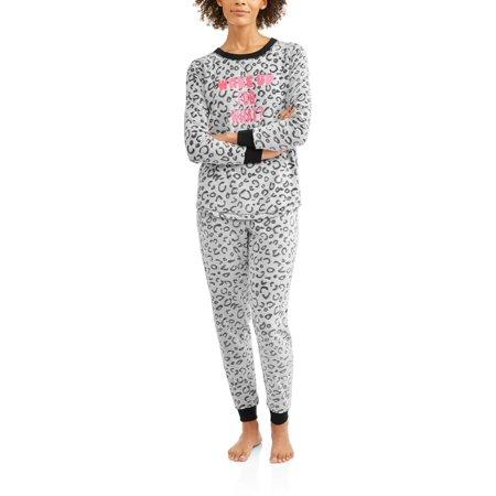 Secret Treasures Women's Applique Long Sleeve Top and Pant 2 Piece Pajama Set