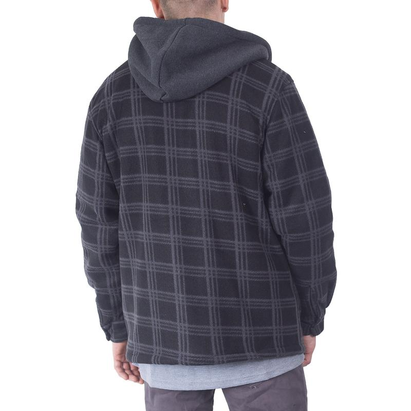 Flannel Jackets For Big Mens Zip Up Hoodie Shirt Jacket Sherpa Line Heavy Sweater XL Black