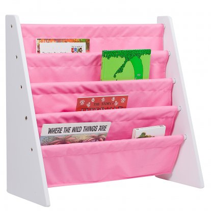 Wildkin Sling Book Shelf - White w/ Pink (Baby Bookcase)