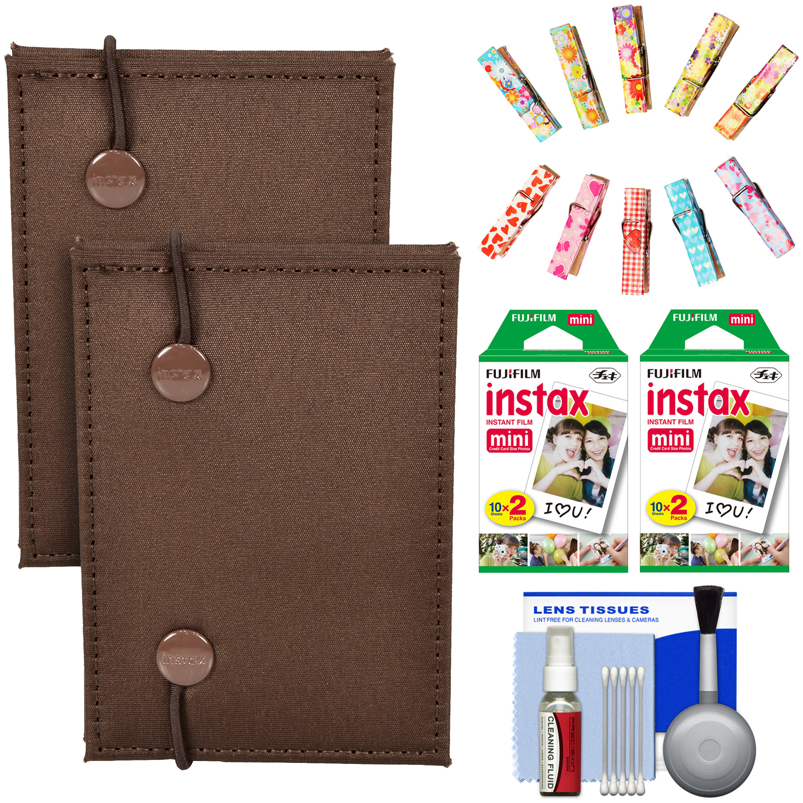 Fujifilm Instax Mini Accordion Photo Album (Green) (2 Pack) with 40 Twin Prints + Wood Peg Clips + Cleaning Kit
