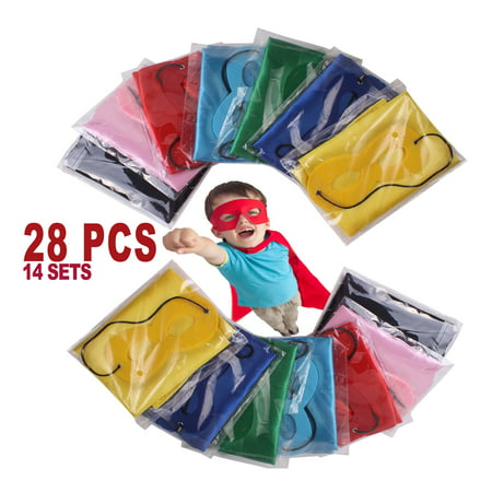 Create Your Own Superhero Costume (14 sets), Superhero Capes and Masks for Boys and Girls, Costume for Kids Birthday Party, Favors, Pretend Play, Dress Up Favors, Christmas - Superhero Girl Dress Up