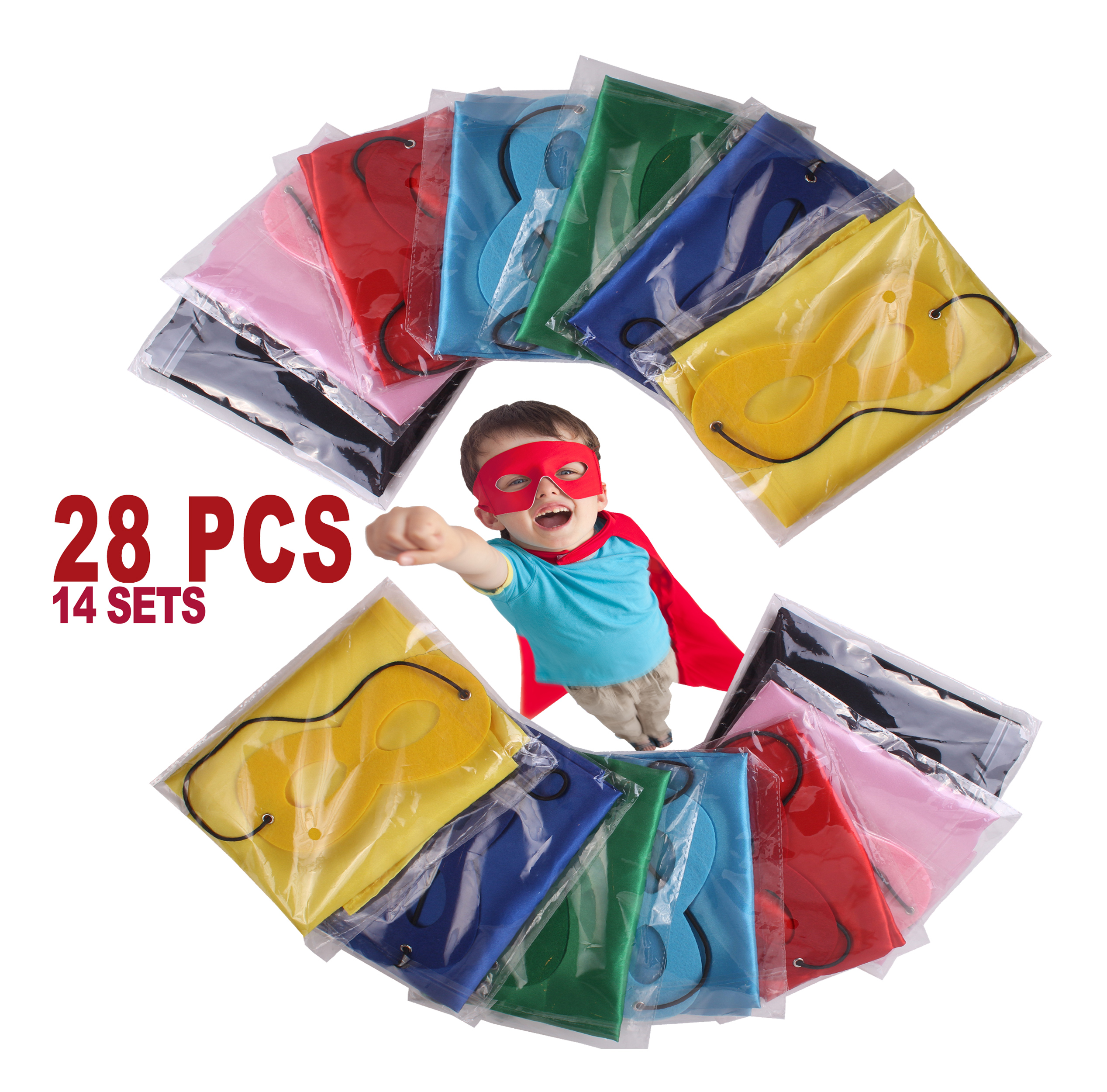 Child Superhero Costume, Cape and Mask Set for Kids, Birthday Party DIY Children, Party Supplies and Favors