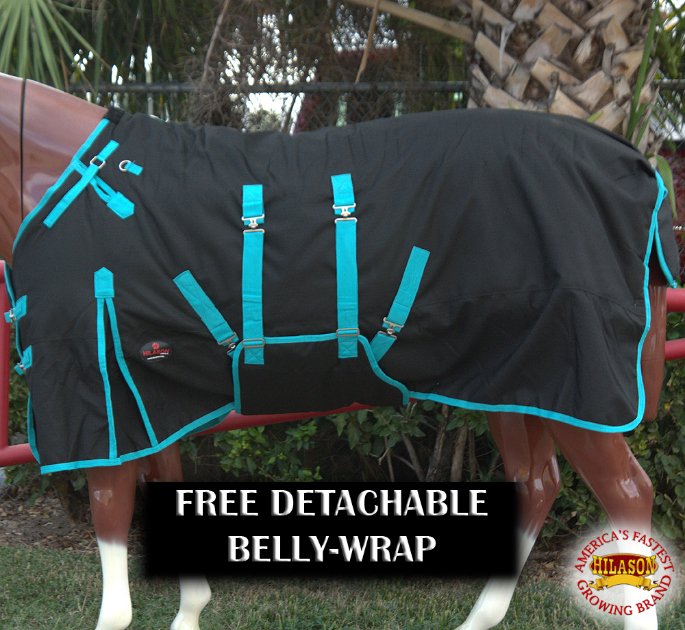 "74"" HILASON 1200D WATERPROOF HORSE WINTER BLANKET BELLY WRAP BLACK TURQUOISE"