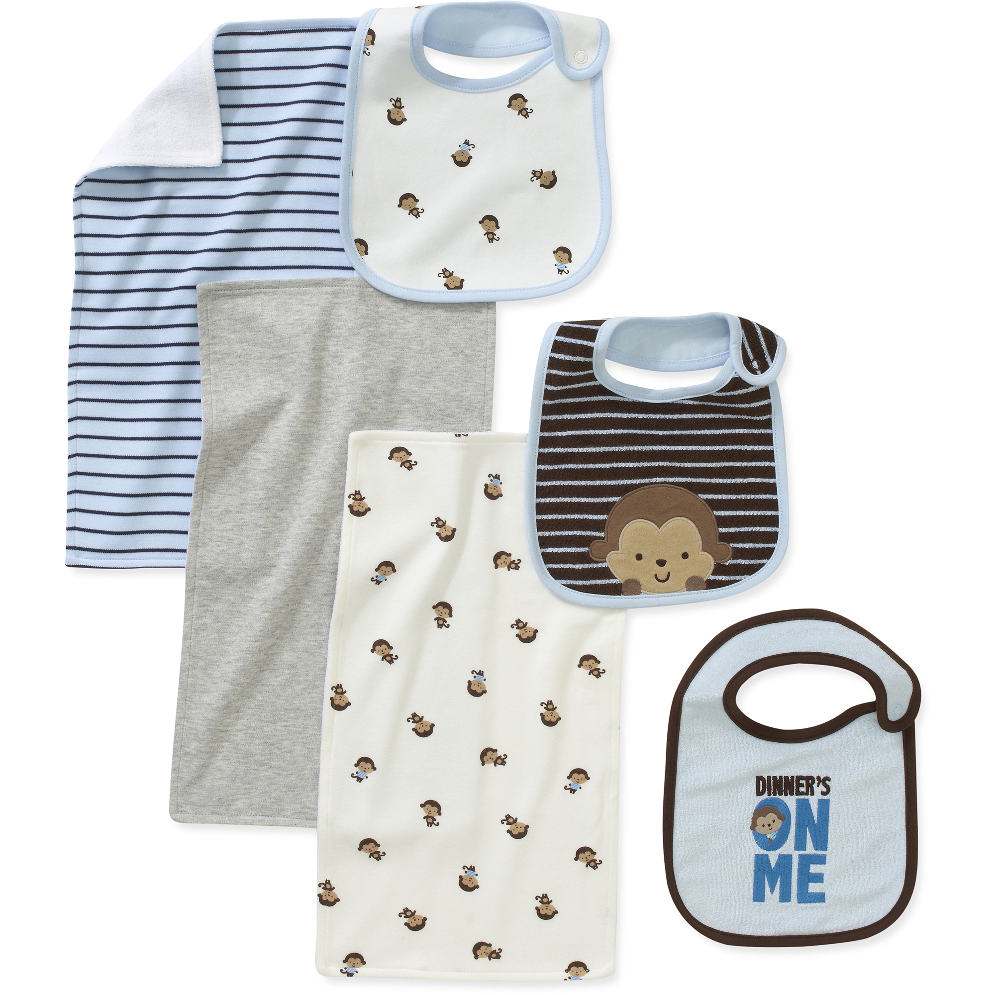 Child of Mine by Carters Newborn Boys' 6 Piece Bib and Burpcloth Set