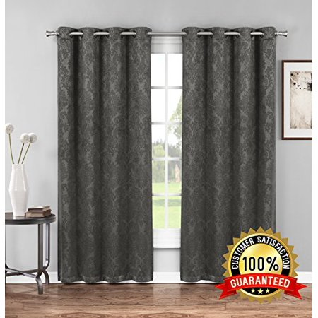 Evelyn - Embossed Thermal Weaved Blackout Curtain With 6 Grommets - Room Darkening & Noise Reduction Fabric - Blocks up to 97% of Sunlight - Premium Draperies (Pair, 38