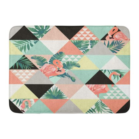 GODPOK Exotic Beach Trendy Patchwork Illustrated Floral Tropical Banana Leaves Jungle Pink Flamingos Mosaic Rug Doormat Bath Mat 23.6x15.7 inch