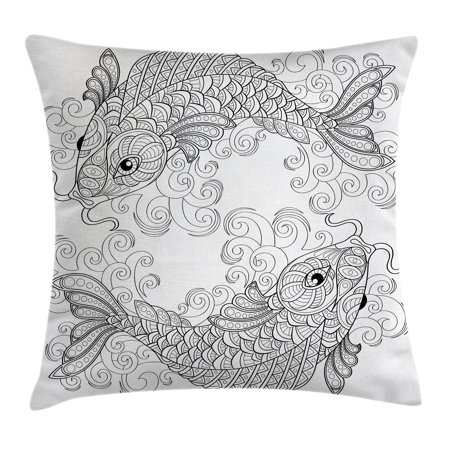 Asian Decor Throw Pillow Cushion Cover, Traditional Koi Fish Pattern with Ethnic Ornaments Culture Image, Decorative Square Accent Pillow Case, 16 X 16 Inches, Grey White, by - Asian Decor