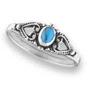 New .925 Sterling Silver Reconstituted Turquoise Blue Bali Heart Ring - Size 7