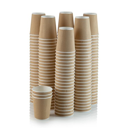 Set of 150 Ripple Insulated Kraft 8-oz Paper Cups â?? Coffee/Tea Hot Cups |3-Layer Rippled Wall For Better Insulation | Perfect for Cappuccino, Hot Cocoa, or Iced Drinks ()