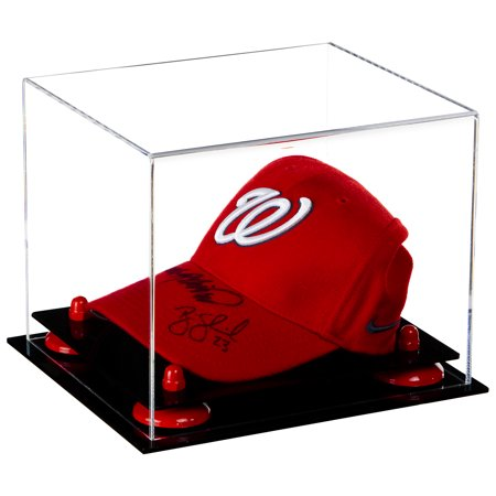 Deluxe Clear Acrylic Baseball Cap Display Case with Red Risers (A006-RR) Acrylic Cap Display Case