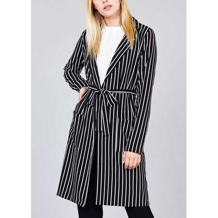 Belted Blazer - Womens Juniors Casual Careerwear Wear to Work Office Black and White Striped Print Long Sleeve Belted Long Blazer 41418V