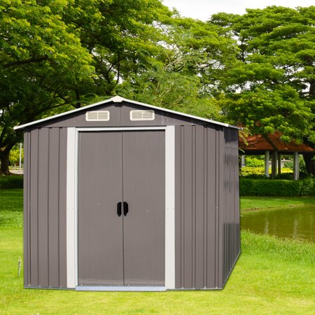 Kinbor New Warm Grey 6' x 4' Outdoor Steel Garden Storage Utility Tool Shed Backyard Lawn Building Garage w/Sliding - Sentry Storage Building