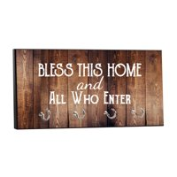 "Bless This Home Quote on Vintage Style Wood Print - 5"" by 11"" Key Hanger Household Decoration with Four Hooks"
