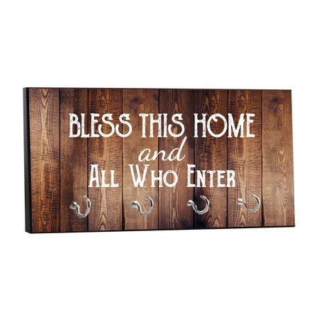 Decoration Hanger (Bless This Home Quote on Vintage Style Wood Print - 5