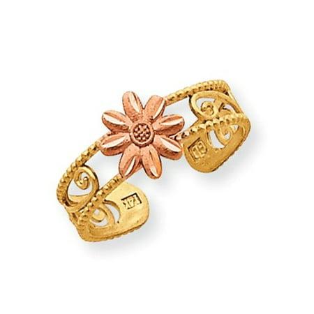 14k Two Tone Gold Flower Toe Ring 14k Designer Toe Ring