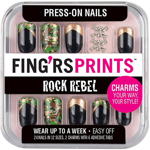 Fing'rs Prints Rock Rebel Press-On Nails, Cameo Appearance, 26 count