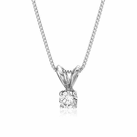 AGS Certified SI2-I1 1/5 cttw Diamond Solitaire Pendant In 14K White Gold with 18 Inch Chain