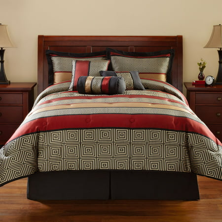 Mainstays Preston Geometric 7 Piece Bedding Comforter Set