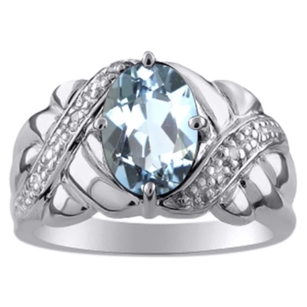 Ladies Aquamarine & Diamond Ring 14K White Gold by Elie Int.