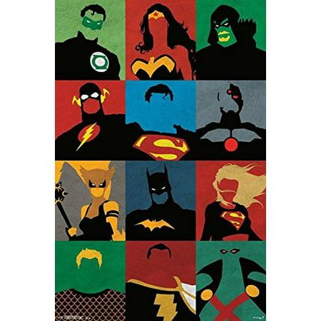 Justice League - Minimalist 34x22.5 Comic Art Poster Print DC Comics Aquaman Batman the Flash Green Lantern the Martian Manhunter Superman and Wonder Woman](Batman Poster)