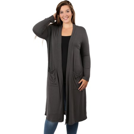 c76715c6ee45e JED FASHION - JED FASHION Women s Plus Size Knee Length Solid Cardigan with  Pockets - Walmart.com