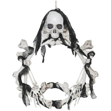 Bone Wreath Light-Up Halloween Decoration