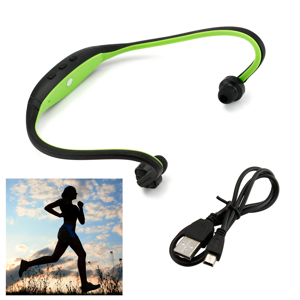 Sports Wireless Stereo Bluetooth Wrap Around Earphones Headset Headphone For Samsung iPhone Cellphone PC - Green