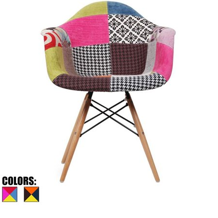 2xhome multi color modern upholstered eames style for Multi coloured fabric dining chairs