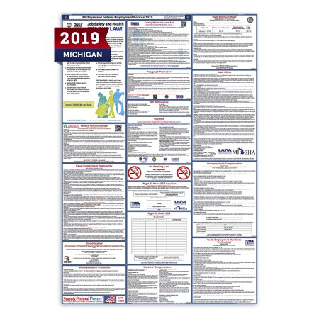 Federal Minimum Wage Labor Law Poster (2019 Michigan State and Federal Labor Law Poster (Laminated) )