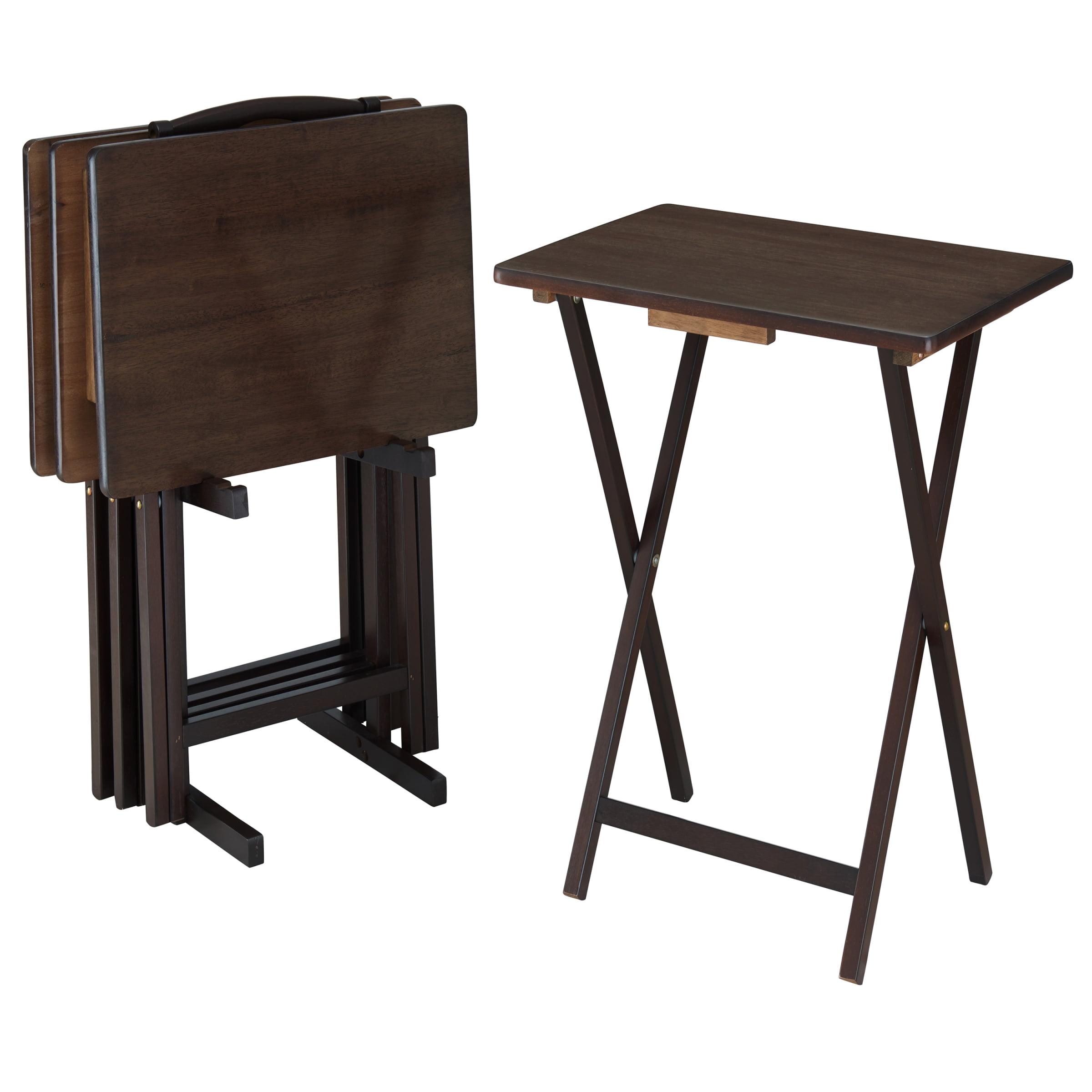 Mainstays 5-Piece Folding Tray Table Set in Walnut