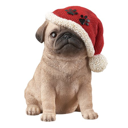 Christmas Puppy Dog in Santa Hat Tabletop Figurine - Holiday Gift Ideas for Dog Lovers, Pug