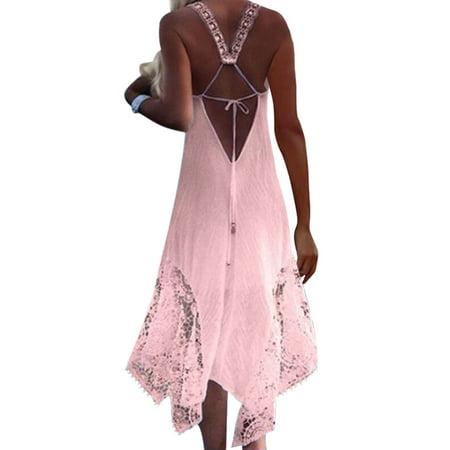 Women Boho Off Shoulder Beach Holiday Party Long Floral Maxi Sundress Ladies Sleeveless Halter Backless Sexy Midi (Floral Halter Sundress)
