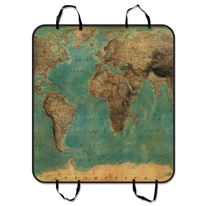 GCKG Vintage Style World Map Pattern Pet Car Seat Cover D...