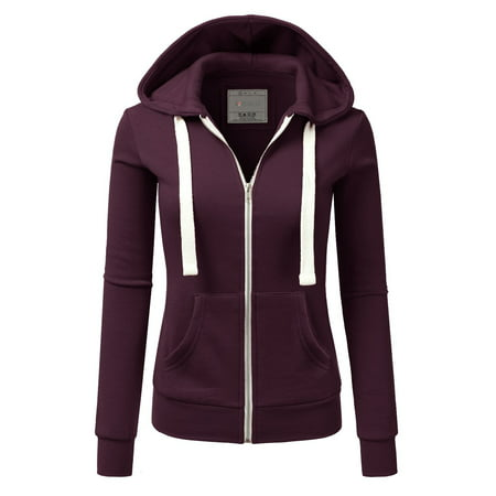Doublju Women's Lightweight Pocket Zip-Up Hoodie Jacket for Women with Plus Size Women Basic Hoodie Jacket