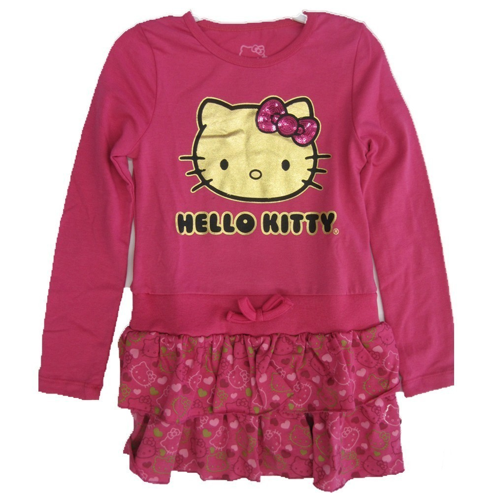 Little Girls Fuchsia Glittery Kitty Face Layered Dress 4-6X