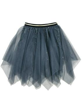 Wenchoice Girls Gray Glitter Uneven Cut Overlaid Mesh Tutu Skirt