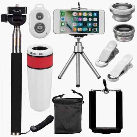 All in 1 Phone Camera Lens Top Travel Kit For iPhone 5S 6 Plus DC599 Telephoto 8x Telephoto+ Lens Fish Eye+ 2in1 Lens+ Selfie Stick Monopod + Mini Tripod, Photo Taking Accesso