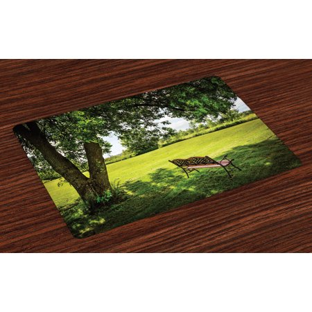 Tree Placemats Set of 4 Wooden Bench under Lush Majestic Aged Shady Tree in Summer Park Hot Day Fresh Scene, Washable Fabric Place Mats for Dining Room Kitchen Table Decor,Green