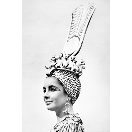 Elizabeth Taylor Stunning As Cleopatra With Egyptian Head Dress 24x36 Poster - Cleopatra Head Piece