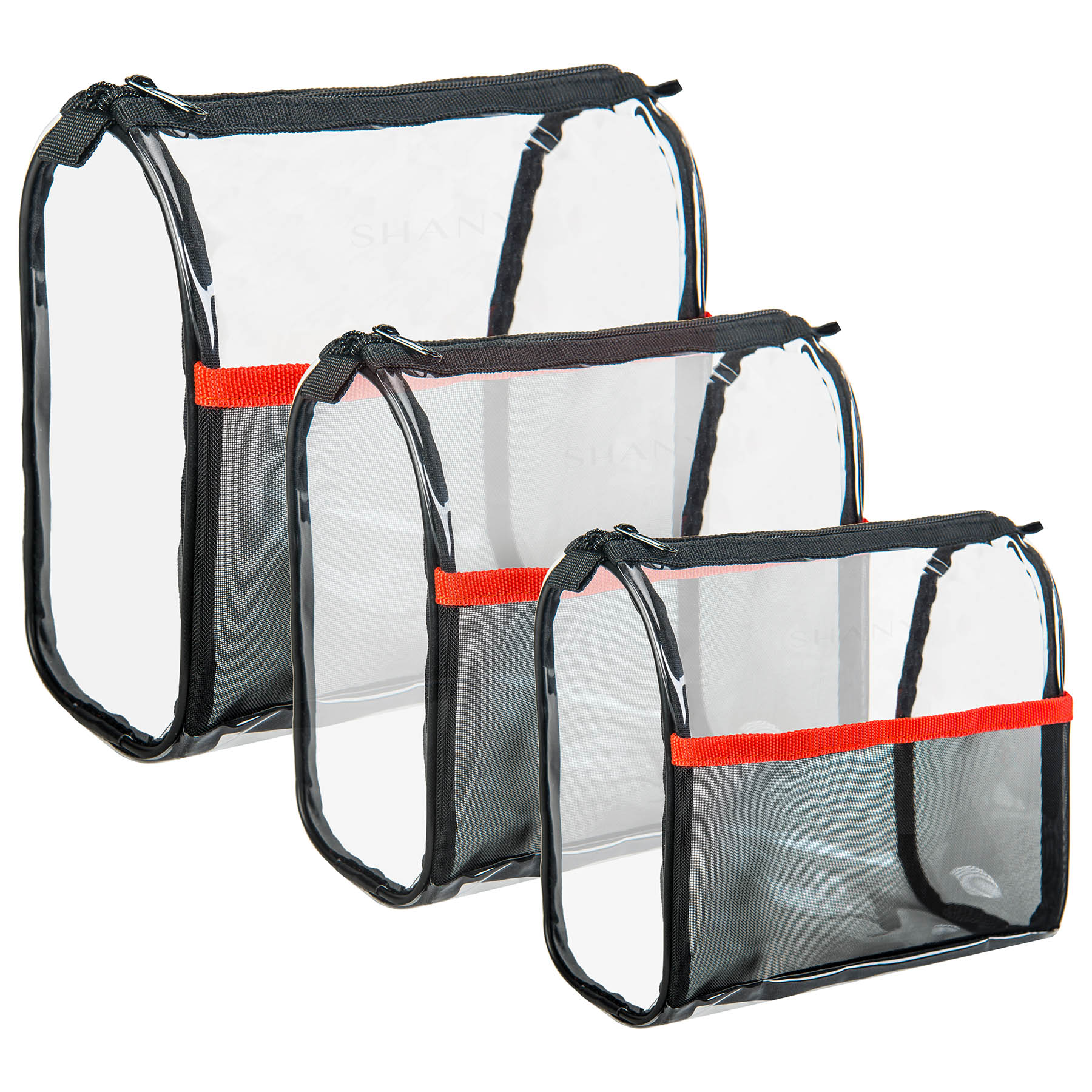 SHANY Travel Makeup Bags - Clear Cosmetics Bags - 3 Assorted sizes - Weekend Adventure Trio