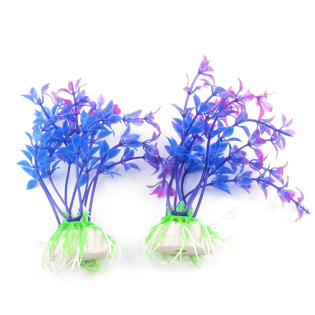 """3.9"""" High Purple Blue Aquarium Simulation Aquatic Mini Grass Plant Ornament 2pcs"""