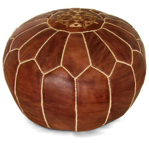 """Ikram Design Stuffed Brown Moroccan Leather Pouf Ottoman, 20"""" Diameter and 13"""" Height"""
