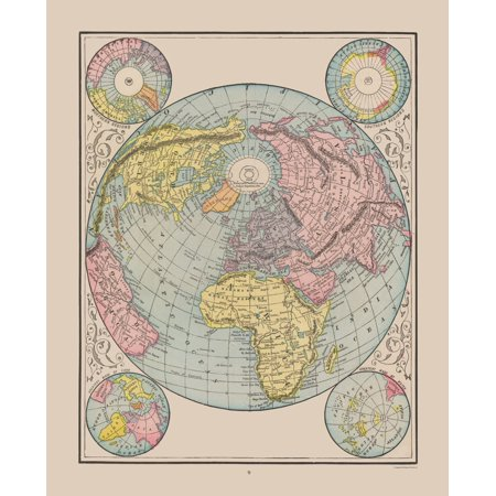 1892 Map Of The World.International Map World Cram 1892 23 X 28 30 Walmart Com