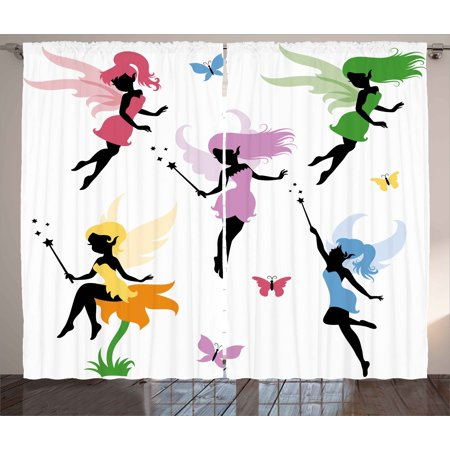 Fantasy Curtains 2 Panels Set, Cute Pixie Spirit Elf Fairies Flying with Butterflies Girls Princess Flowers Design, Window Drapes for Living Room Bedroom, 108W X 96L Inches, Multicolor, by Ambesonne - Girl Pixie