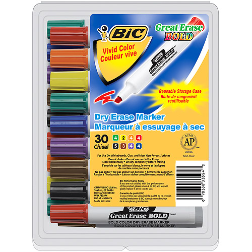 BIC Great Erase Bold Non-Toxic Dry Erase Marker, Chisel Tip, Assorted Color, Pack of 30