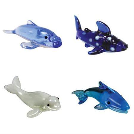BrainStorm Looking Glass Miniature Glass Figurines, 4-Pack, Humpback Whale/Whale Shark/Beluga Whale/Blue Whale