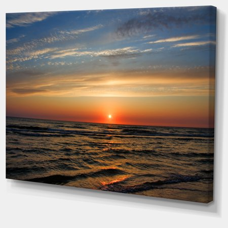 Red Sunset with Dark Ocean Waves Seascape - image 2 de 3
