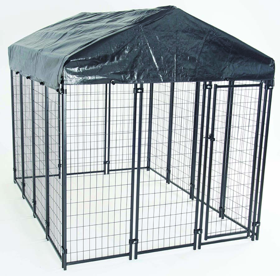 AKC® Uptown Dog™ 6ft x 8ft x 6ft. High Heavy-duty Dog Kennel with Roof & Cover for Backyards, Large Decks & Patios includes Free Training Guide