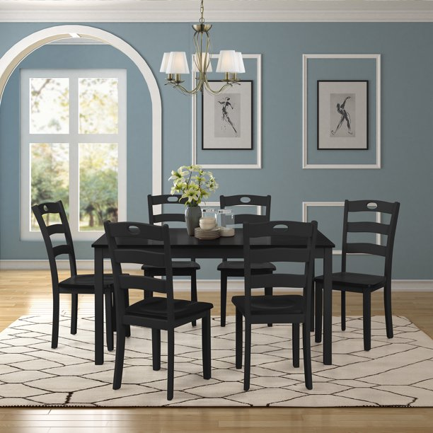 Black Dining Table Set for 6, Modern 7 Piece Dining Room Table